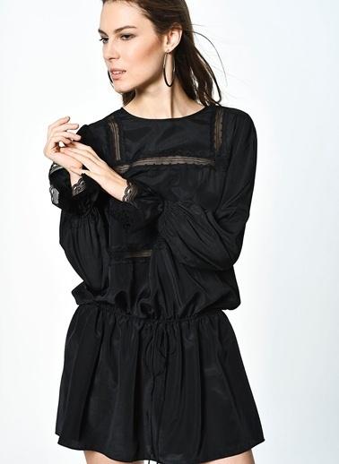 English Factory English Factory 1068D6Ff Woven Dress Transparan Detaylı Elbise Siyah